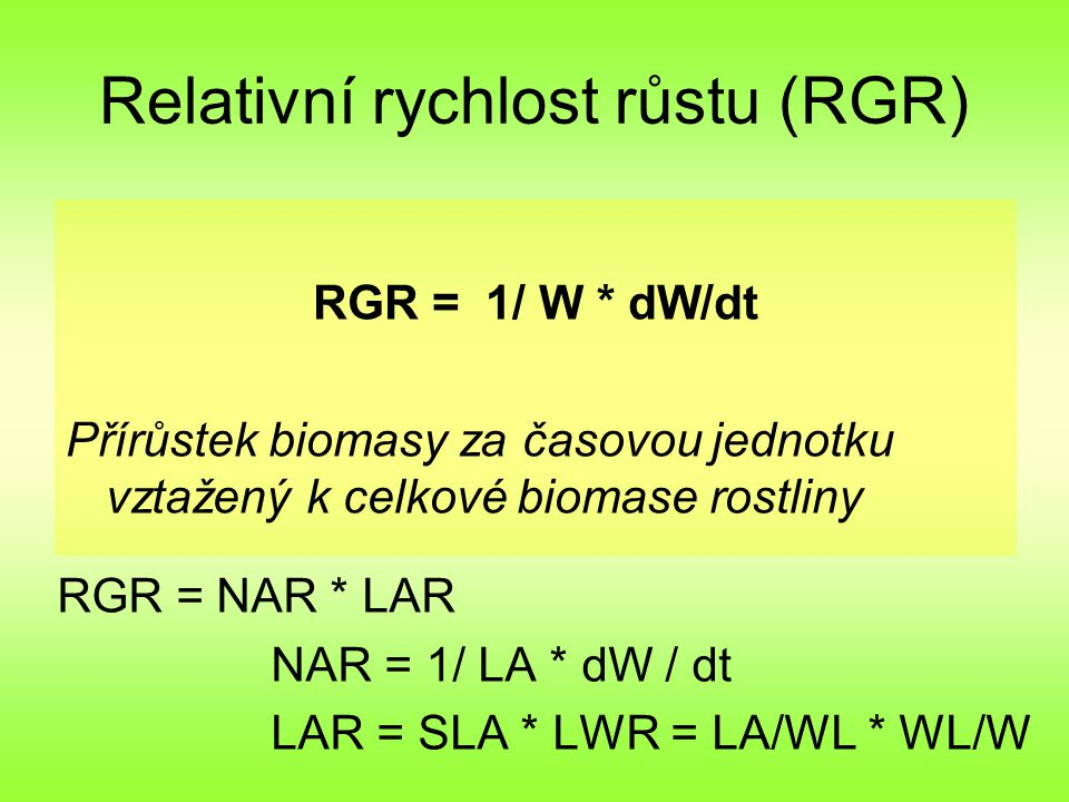 Relativní rychlost růstu (RGR)