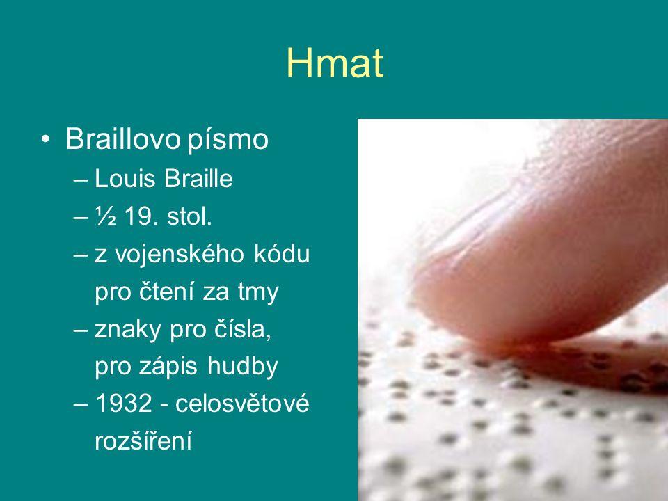 Hmat Braillovo písmo Louis Braille ½ 19. stol. z vojenského kódu