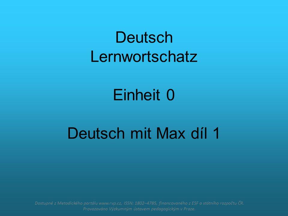 Deutsch Lernwortschatz Einheit 0 Deutsch mit Max díl 1