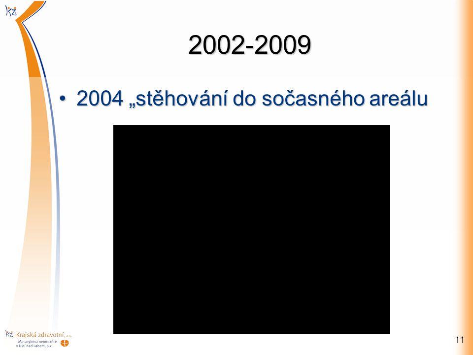"""2002-2009 2004 """"stěhování do sočasného areálu"""