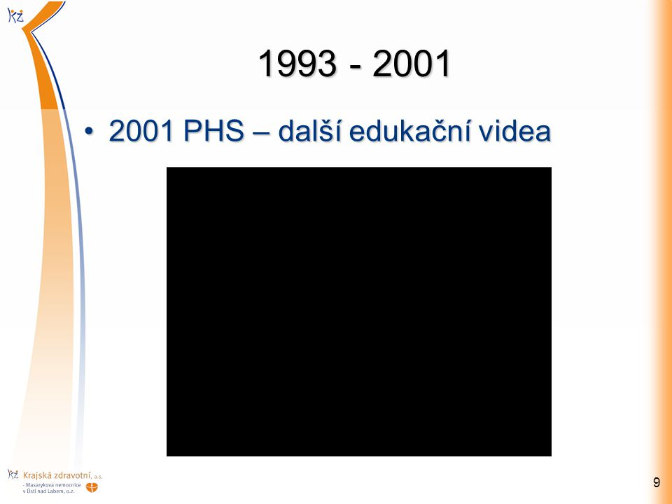 1993 - 2001 2001 PHS – další edukační videa