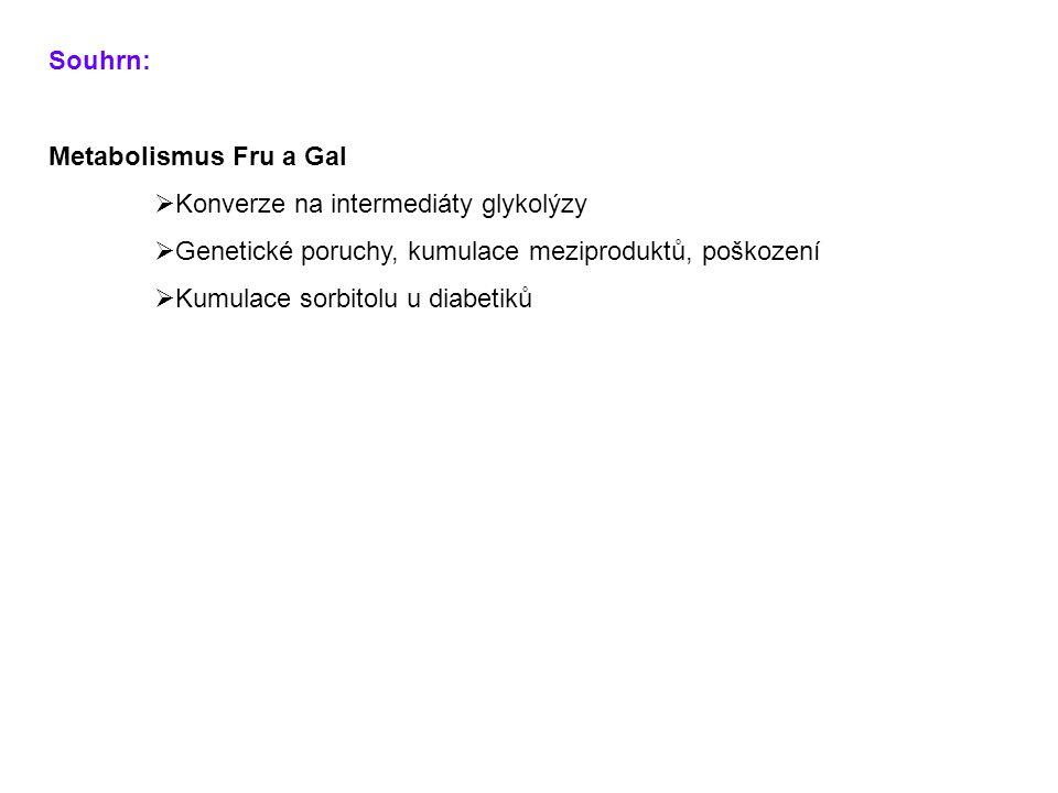 Souhrn: Metabolismus Fru a Gal. Konverze na intermediáty glykolýzy. Genetické poruchy, kumulace meziproduktů, poškození.