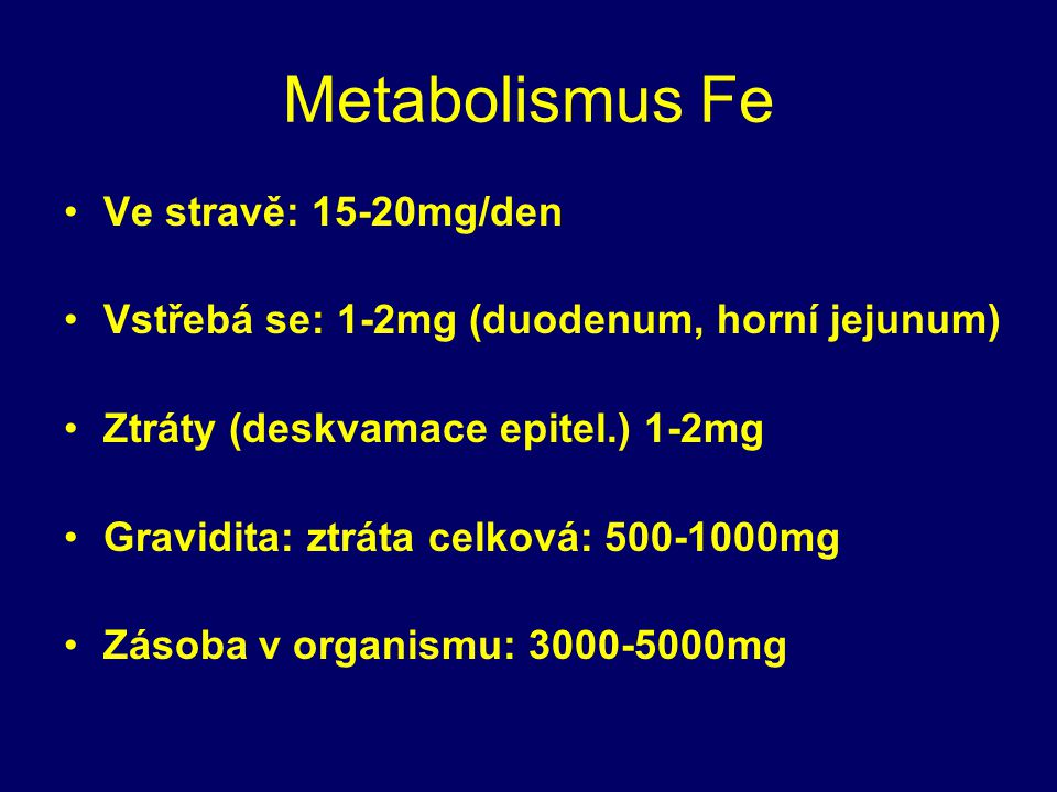 Metabolismus Fe Ve stravě: 15-20mg/den