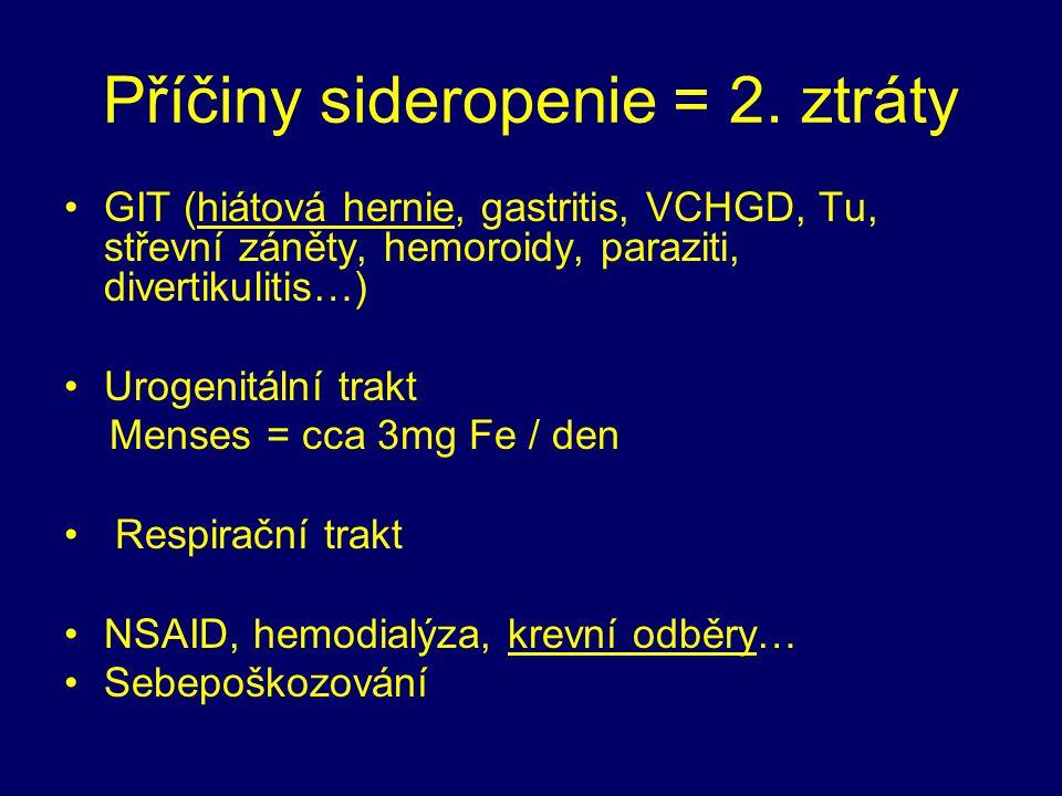 Příčiny sideropenie = 2. ztráty