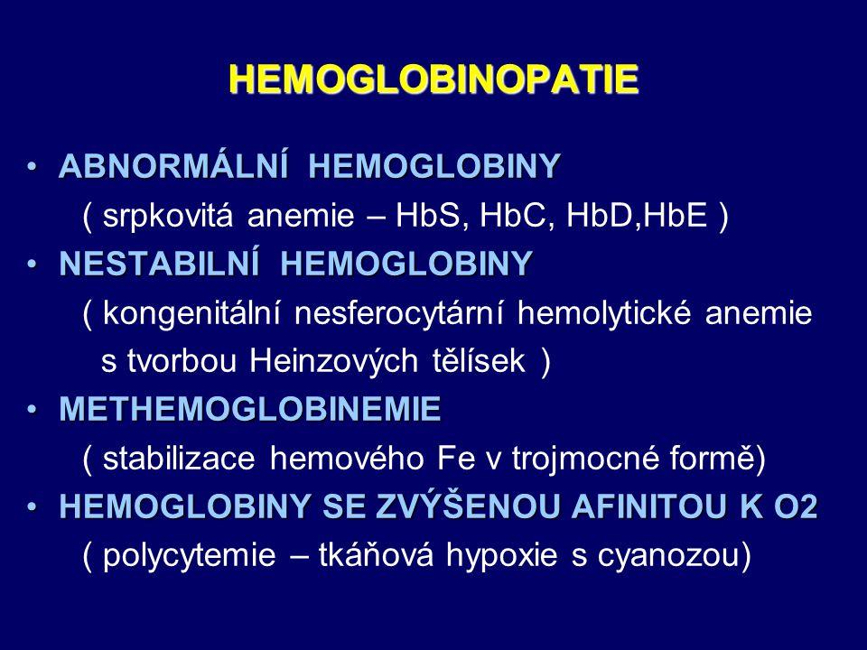 HEMOGLOBINOPATIE ABNORMÁLNÍ HEMOGLOBINY
