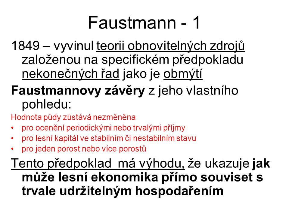 Faustmann - 1 1849 – vyvinul teorii obnovitelných zdrojů založenou na specifickém předpokladu nekonečných řad jako je obmýtí.