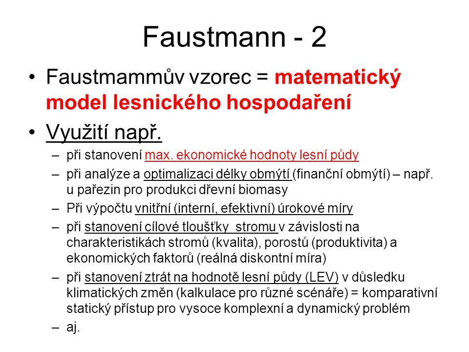 Faustmann - 2 Faustmammův vzorec = matematický model lesnického hospodaření. Využití např. při stanovení max. ekonomické hodnoty lesní půdy.