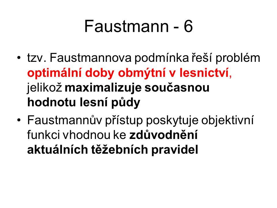 Faustmann - 6 tzv. Faustmannova podmínka řeší problém optimální doby obmýtní v lesnictví, jelikož maximalizuje současnou hodnotu lesní půdy.
