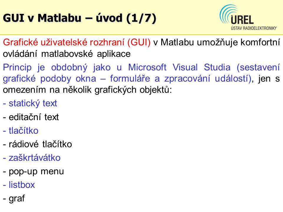 GUI v Matlabu – úvod (1/7) Grafické uživatelské rozhraní (GUI) v Matlabu umožňuje komfortní ovládání matlabovské aplikace.