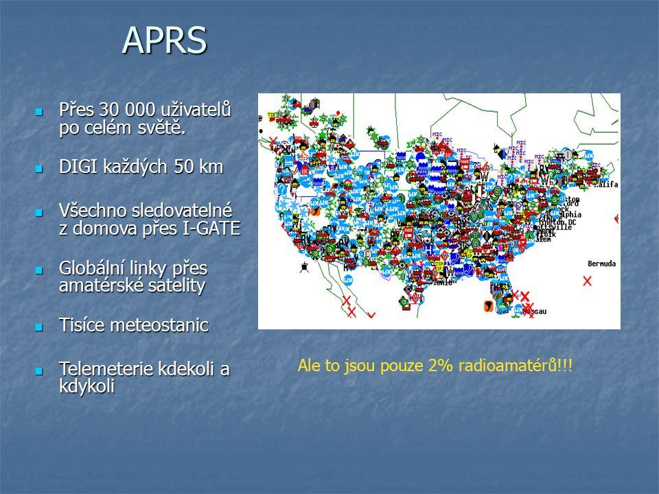 APRS Přes 30 000 uživatelů po celém světě. DIGI každých 50 km