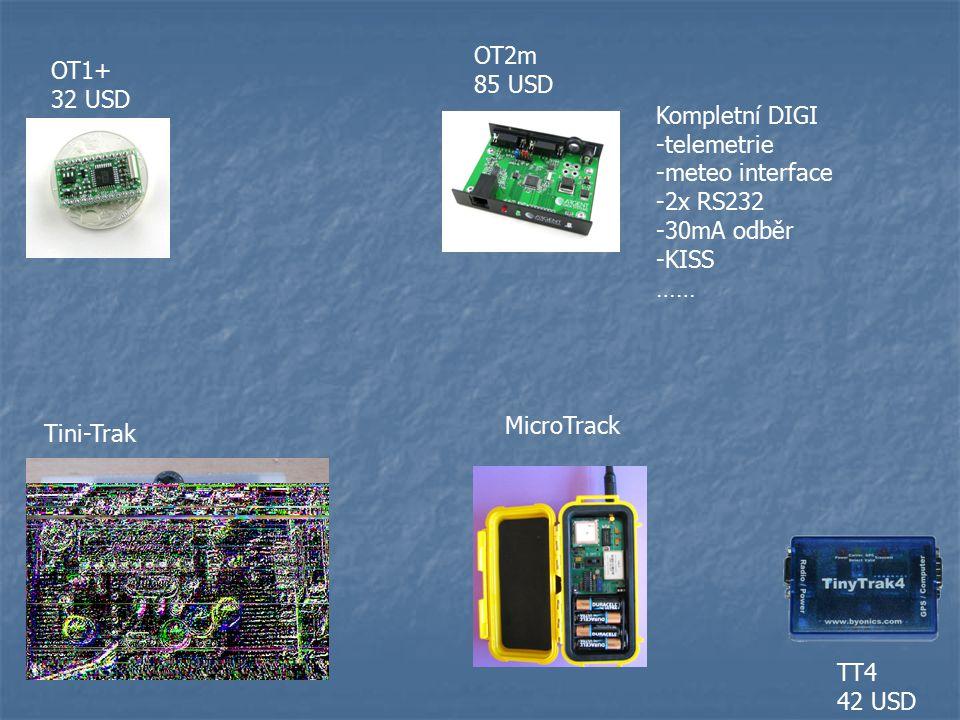 OT2m 85 USD. OT1+ 32 USD. Kompletní DIGI. -telemetrie. -meteo interface. -2x RS232. -30mA odběr.