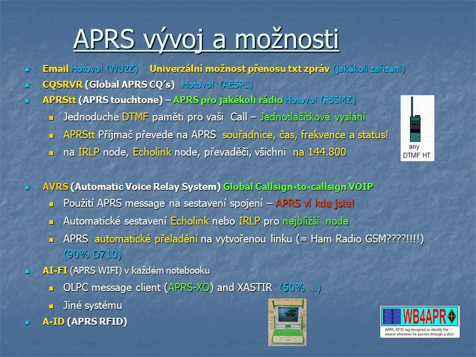 APRS vývoj a možnosti Email Hotovo! (WU2Z) - Univerzální možnost přenosu txt zpráv (jakékoli zařízení)