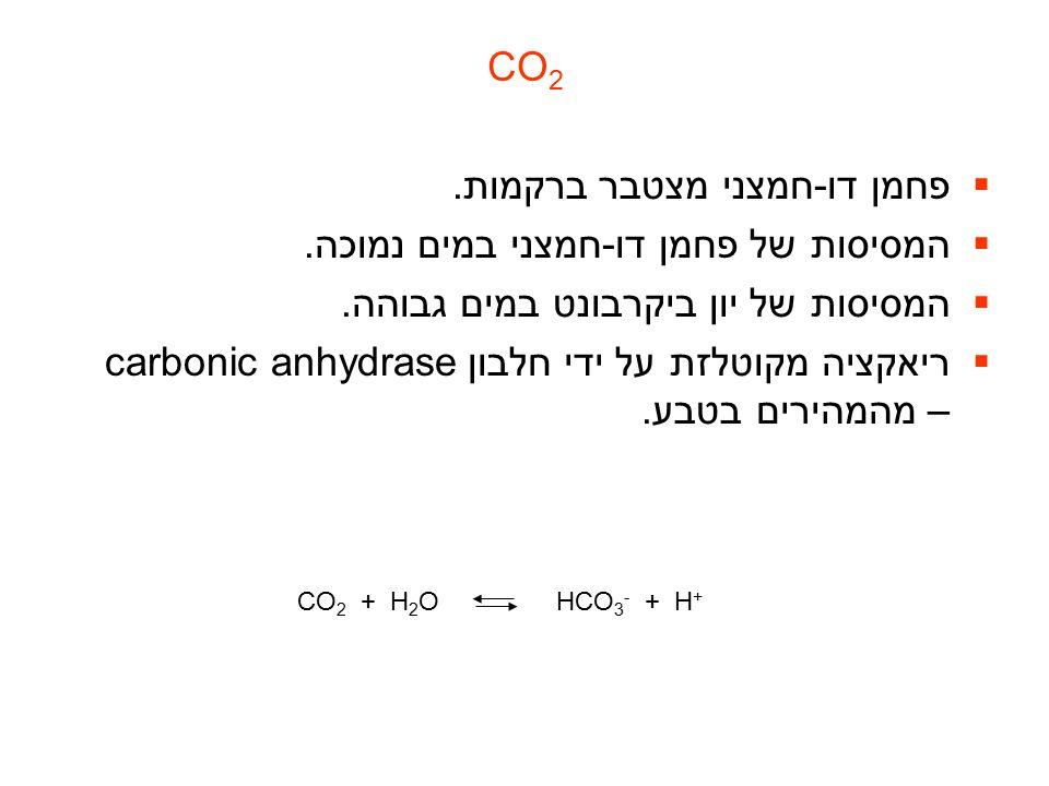 פחמן דו-חמצני מצטבר ברקמות. המסיסות של פחמן דו-חמצני במים נמוכה.