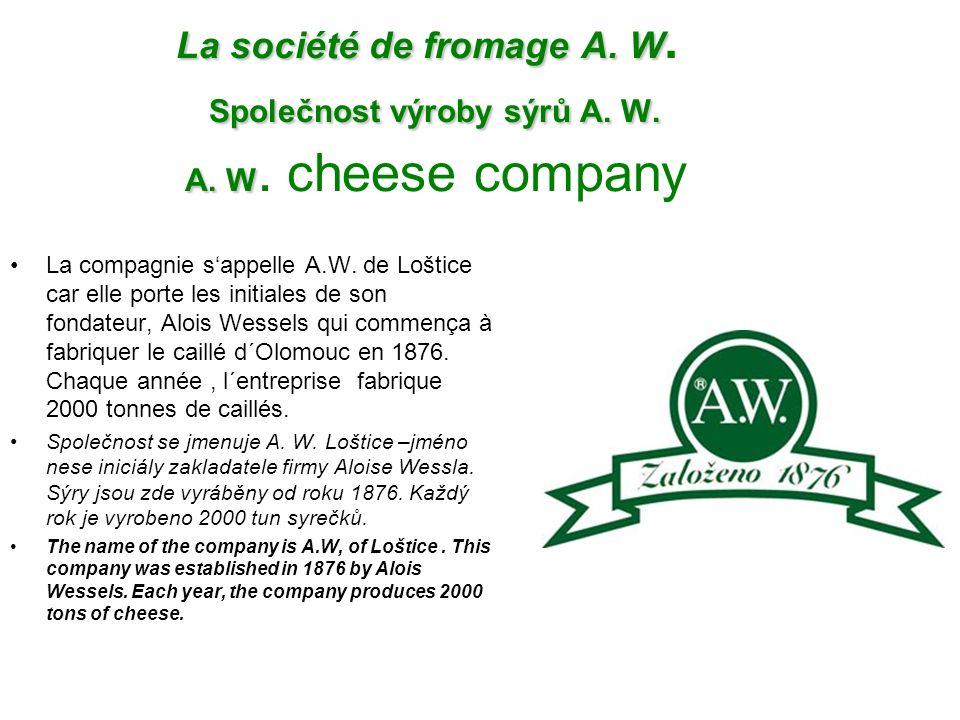 La société de fromage A. W. Společnost výroby sýrů A. W. A. W
