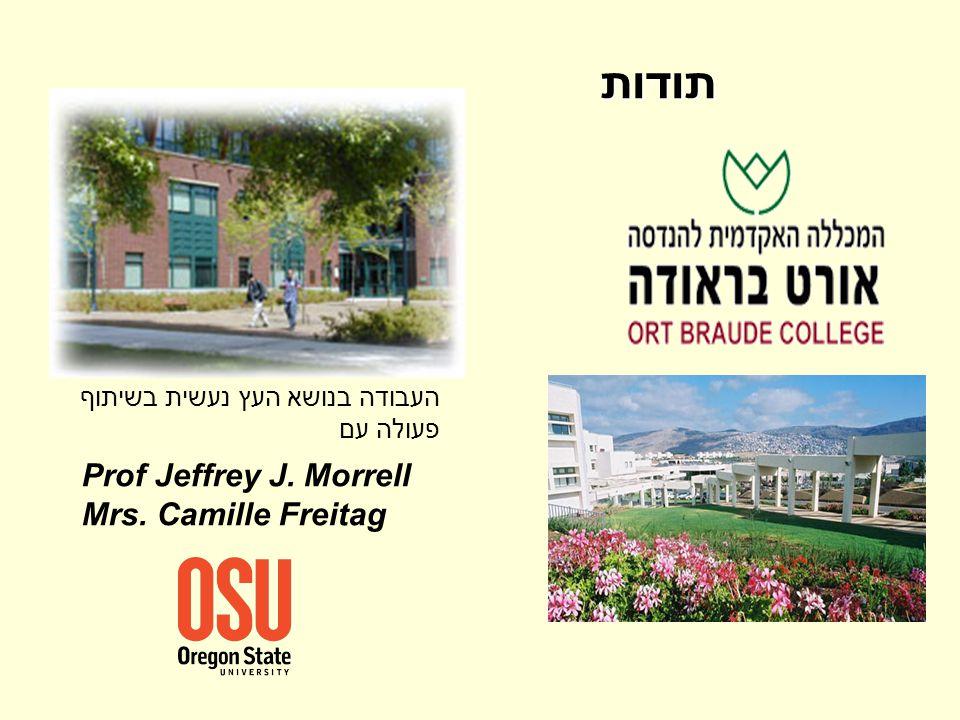 תודות Prof Jeffrey J. Morrell Mrs. Camille Freitag