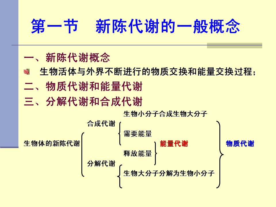 第一节 新陈代谢的一般概念 一、新陈代谢概念 二、物质代谢和能量代谢 三、分解代谢和合成代谢