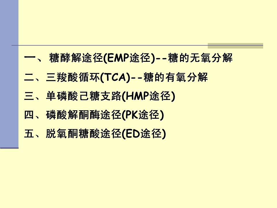 一、糖酵解途径(EMP途径)--糖的无氧分解