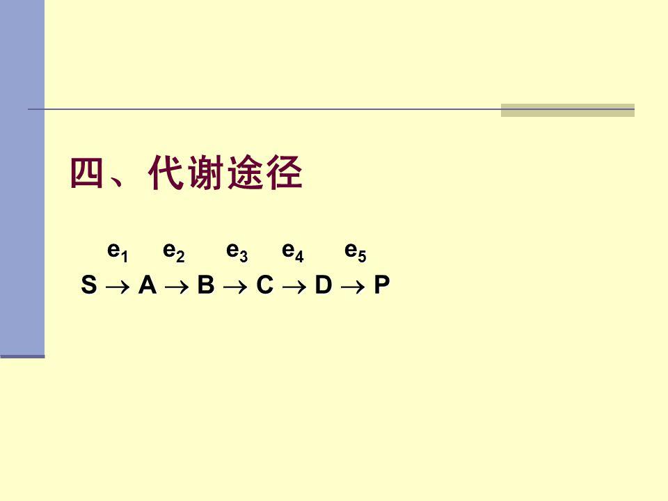 四、代谢途径 e1 e2 e3 e4 e5 S  A  B  C  D  P