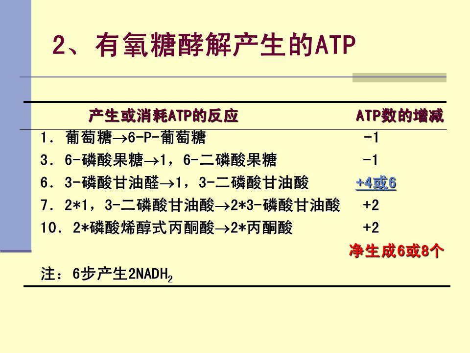 2、有氧糖酵解产生的ATP 产生或消耗ATP的反应 ATP数的增减 1.葡萄糖6-P-葡萄糖 -1