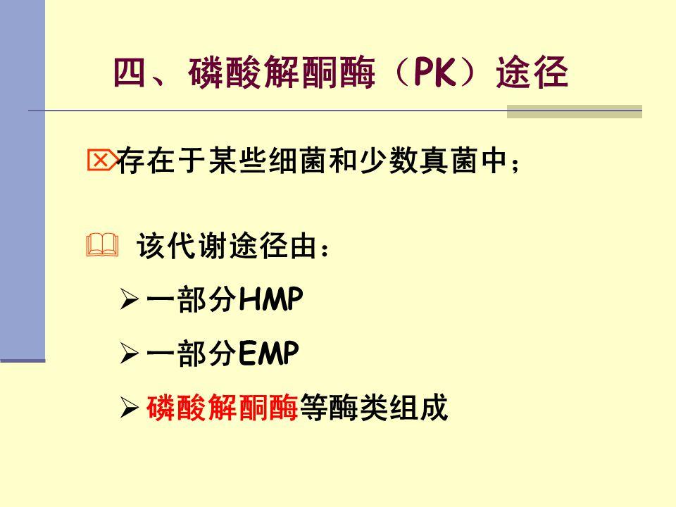 四、磷酸解酮酶(PK)途径 存在于某些细菌和少数真菌中; 该代谢途径由: 一部分HMP 一部分EMP 磷酸解酮酶等酶类组成