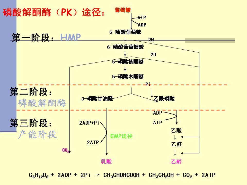 C6H12O6 + 2ADP + 2Pi → CH3CHOHCOOH + CH3CH2OH + CO2 + 2ATP