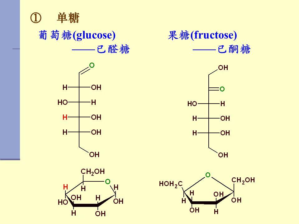 单糖 葡萄糖(glucose) ——已醛糖 果糖(fructose) ——已酮糖