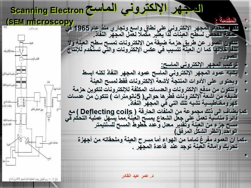 المجهر الإلكتروني الماسح Scanning Electron microscopy (SEM
