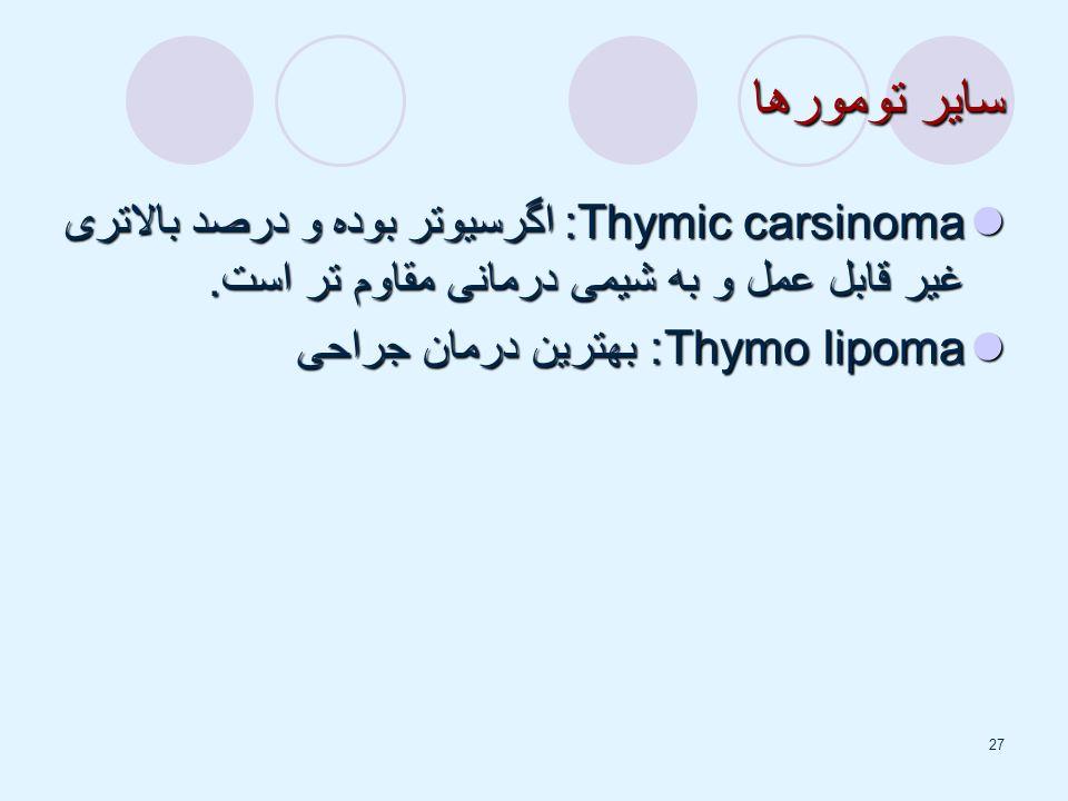 سایر تومورها Thymic carsinoma: اگرسیوتر بوده و درصد بالاتری غیر قابل عمل و به شیمی درمانی مقاوم تر است.