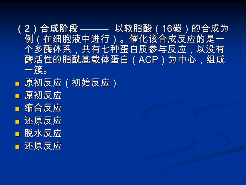 (2)合成阶段 ——— 以软脂酸(16碳)的合成为例(在细胞液中进行)。催化该合成反应的是一个多酶体系,共有七种蛋白质参与反应,以没有酶活性的脂酰基载体蛋白(ACP)为中心,组成一簇。