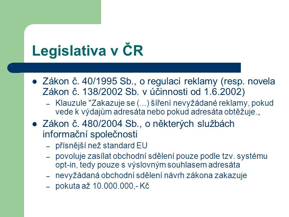 Legislativa v ČRZákon č. 40/1995 Sb., o regulaci reklamy (resp. novela Zákon č. 138/2002 Sb. v účinnosti od 1.6.2002)