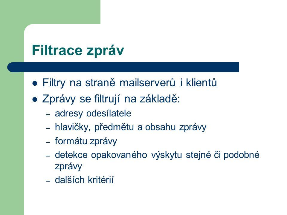 Filtrace zpráv Filtry na straně mailserverů i klientů