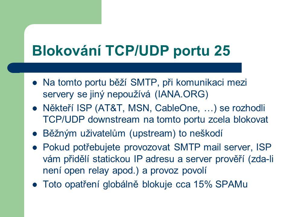 Blokování TCP/UDP portu 25