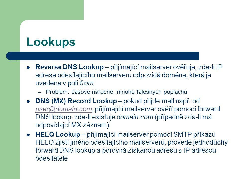 LookupsReverse DNS Lookup – přijímající mailserver ověřuje, zda-li IP adrese odesílajícího mailserveru odpovídá doména, která je uvedena v poli from.