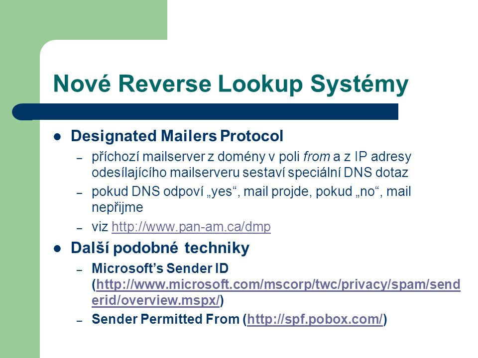 Nové Reverse Lookup Systémy