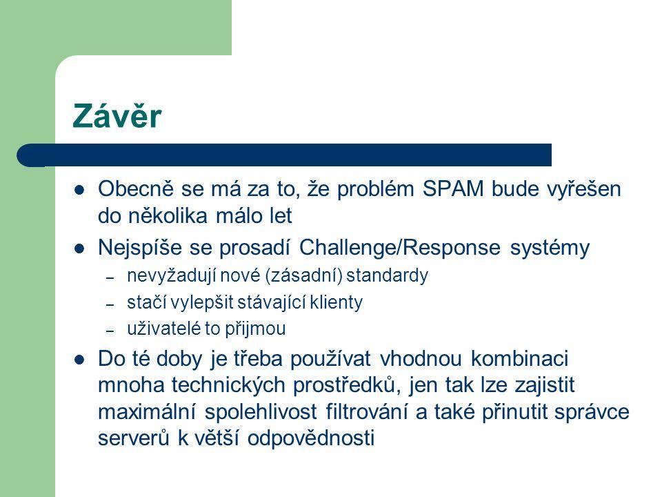 Závěr Obecně se má za to, že problém SPAM bude vyřešen do několika málo let. Nejspíše se prosadí Challenge/Response systémy.