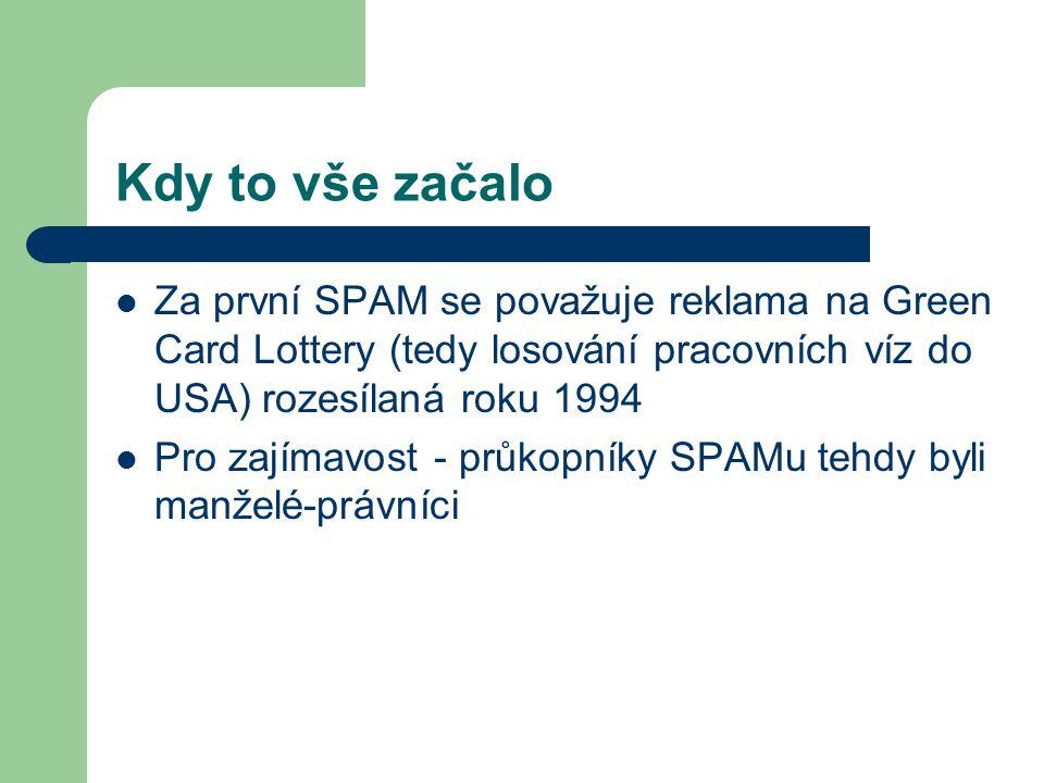 Kdy to vše začalo Za první SPAM se považuje reklama na Green Card Lottery (tedy losování pracovních víz do USA) rozesílaná roku 1994.