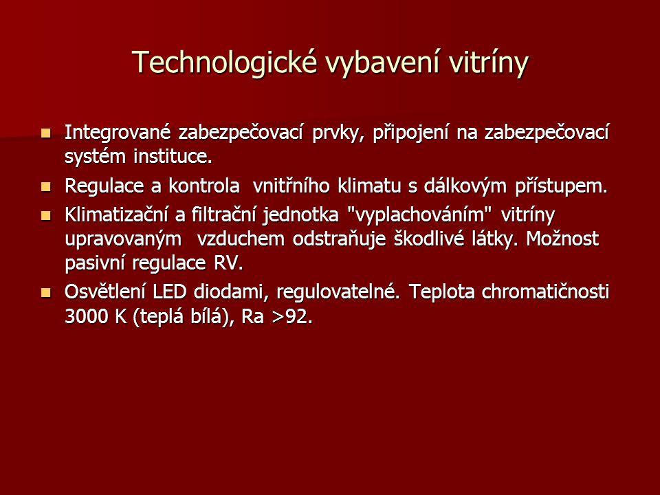 Technologické vybavení vitríny