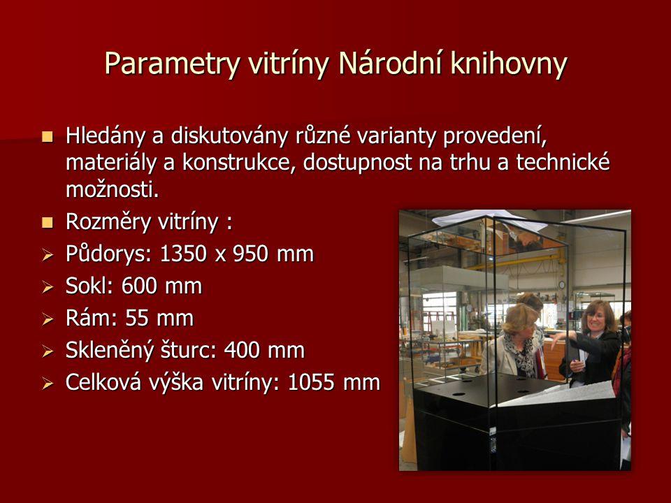 Parametry vitríny Národní knihovny