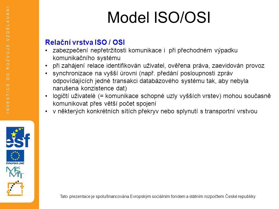 Model ISO/OSI Relační vrstva ISO / OSI