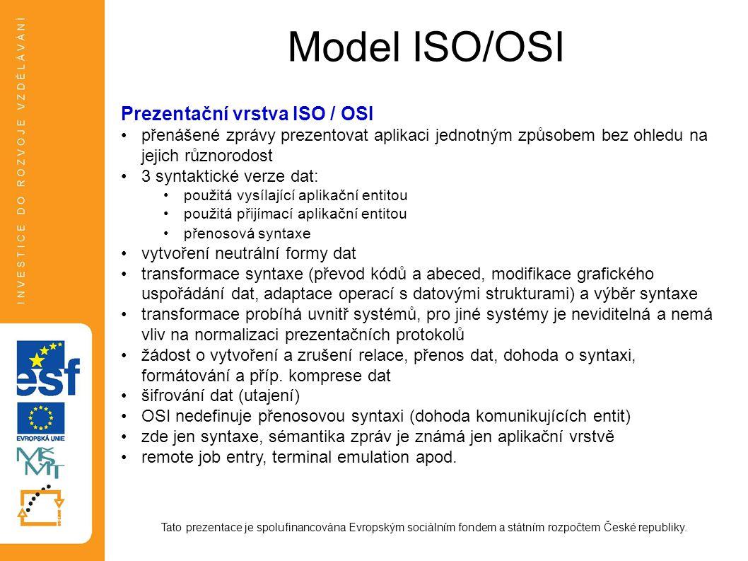 Model ISO/OSI Prezentační vrstva ISO / OSI