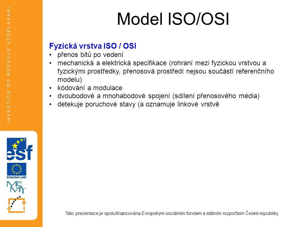 Model ISO/OSI Fyzická vrstva ISO / OSI přenos bitů po vedení