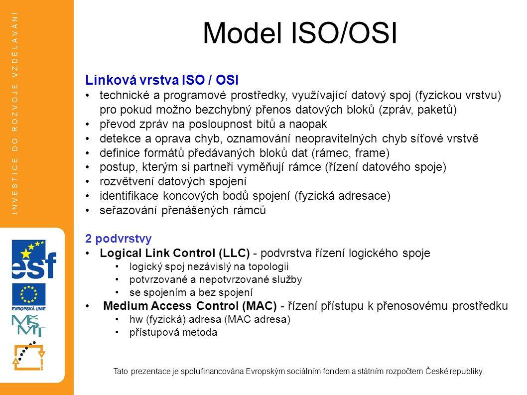 Model ISO/OSI Linková vrstva ISO / OSI