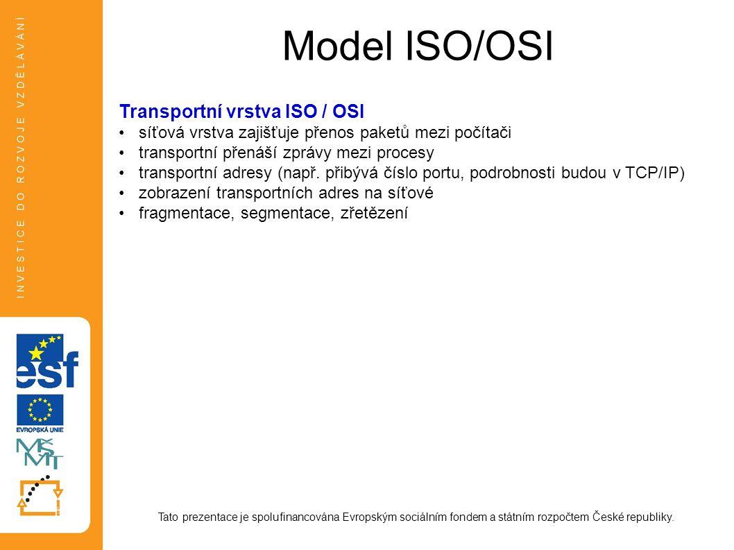 Model ISO/OSI Transportní vrstva ISO / OSI
