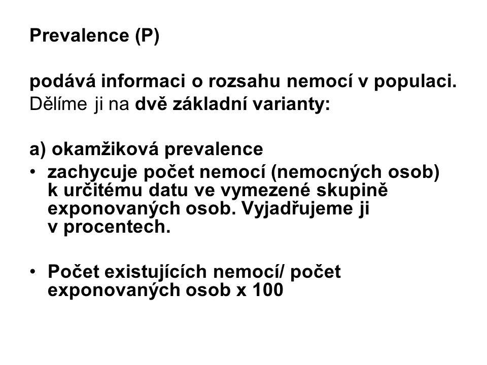 Prevalence (P) podává informaci o rozsahu nemocí v populaci. Dělíme ji na dvě základní varianty: a) okamžiková prevalence.