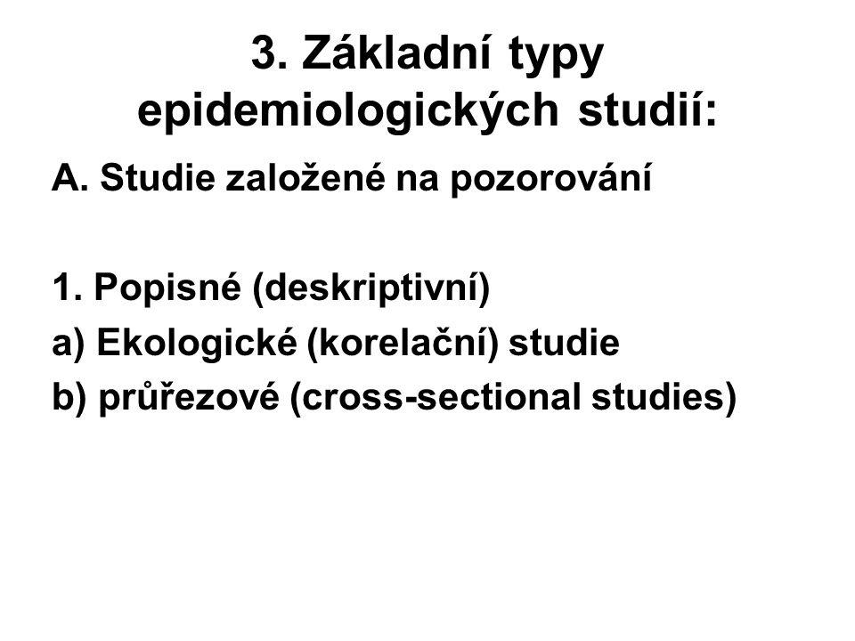 3. Základní typy epidemiologických studií: