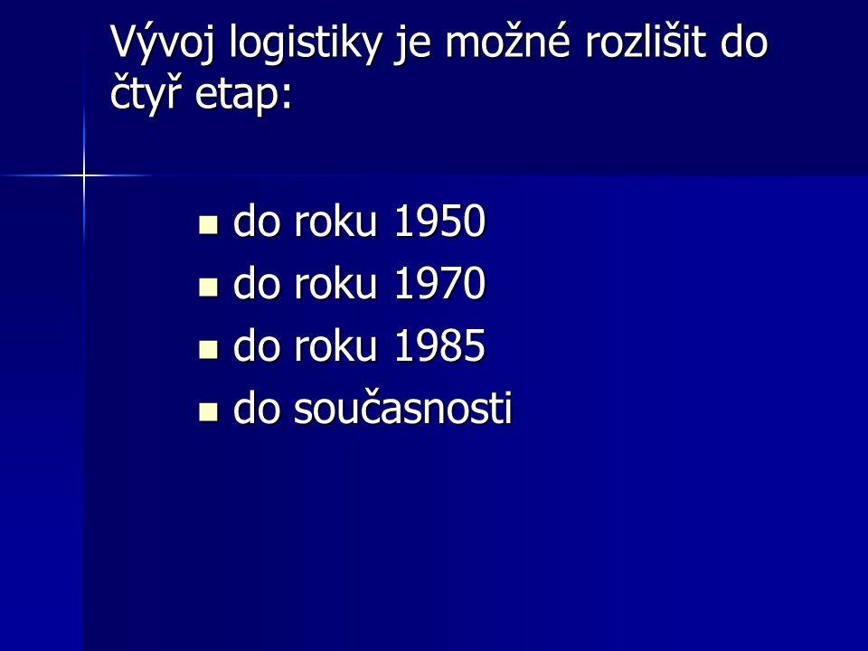 Vývoj logistiky je možné rozlišit do čtyř etap: