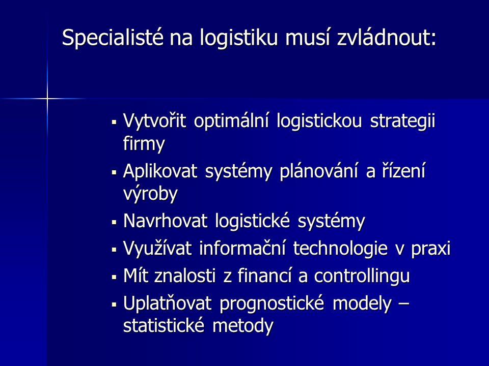 Specialisté na logistiku musí zvládnout: