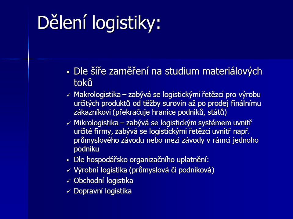 Dělení logistiky: Dle šíře zaměření na studium materiálových toků