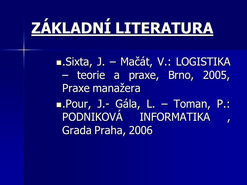 ZÁKLADNÍ LITERATURA .Sixta, J. – Mačát, V.: LOGISTIKA – teorie a praxe, Brno, 2005, Praxe manažera.