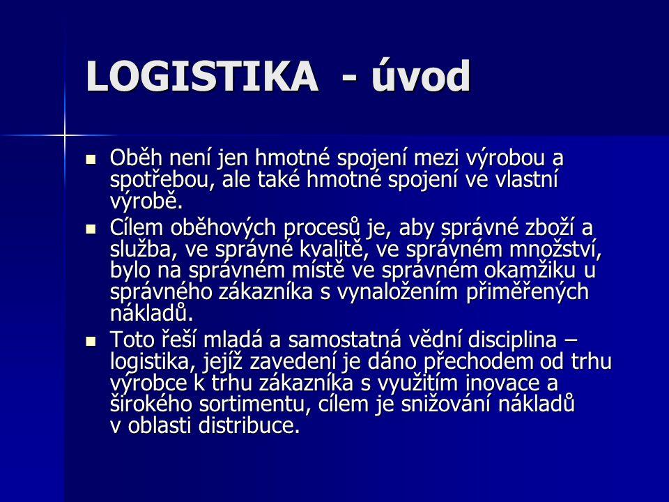 LOGISTIKA - úvod Oběh není jen hmotné spojení mezi výrobou a spotřebou, ale také hmotné spojení ve vlastní výrobě.